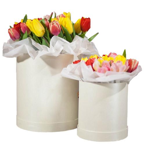 """Подарок """"Две звезды"""" (21 и 51 тюльпан в шляпной коробке) фото"""