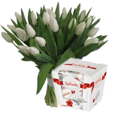"21 тюльпан и ""Raffaello"" фото"