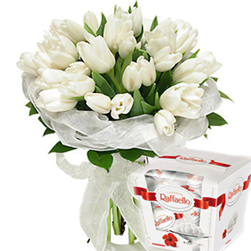 "25 тюльпанов и ""Raffaello"" фото подарка"