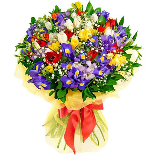"""Букет """"Побег к счастью"""" тюльпаны и ирисы"""