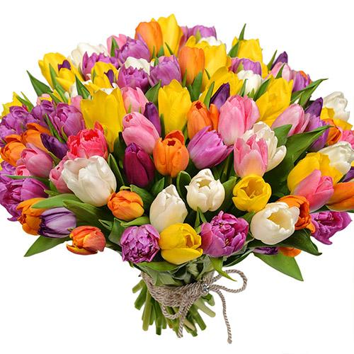"""Букет """"Самоцветы"""" 101 разноцветный тюльпан"""