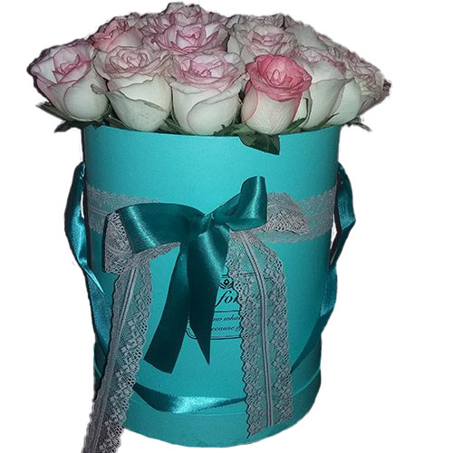"Фото товара 21 роза ""Джумилия"" в шляпной коробке"