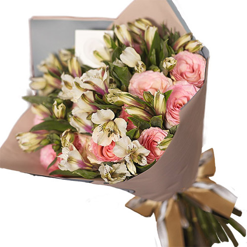 Фото товара Микс розовой розы и альстромерии