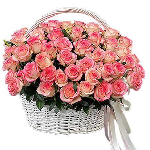 "Фото товара 51 роза ""Джумилия"" в корзине"