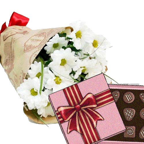 Фото товара 3 хризантемы с конфетами