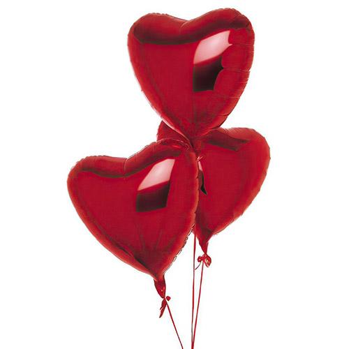 Фото товара 3 фольговані кульки у формі серця