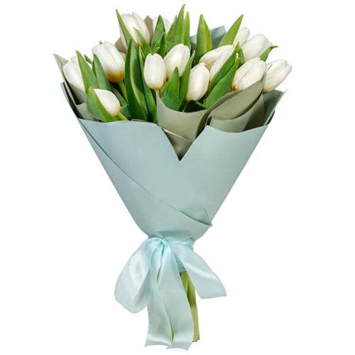 Фото товара 15 білих тюльпанів