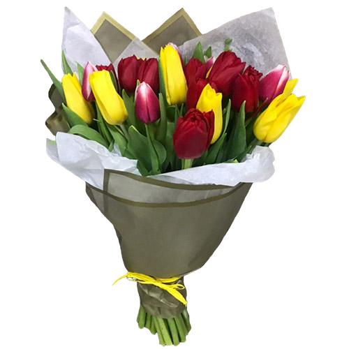 Фото товара 21 червоно-жовтий тюльпан у подвійній упаковці