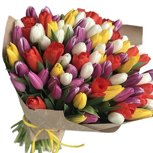 Фото товара 101 тюльпан мікс (4 кольори) у крафт