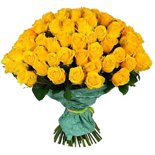 Фото товара 101 жовта троянда