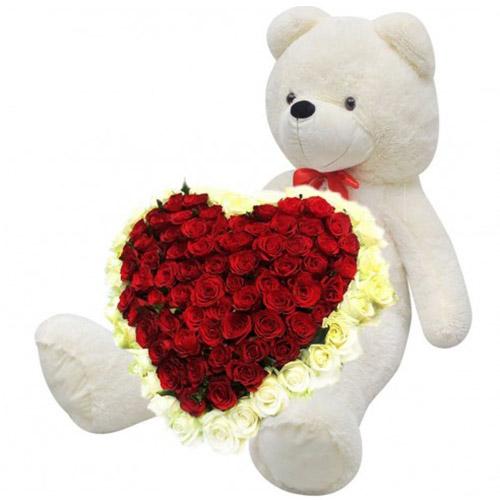 Фото товара 101 троянда і великий ведмедик