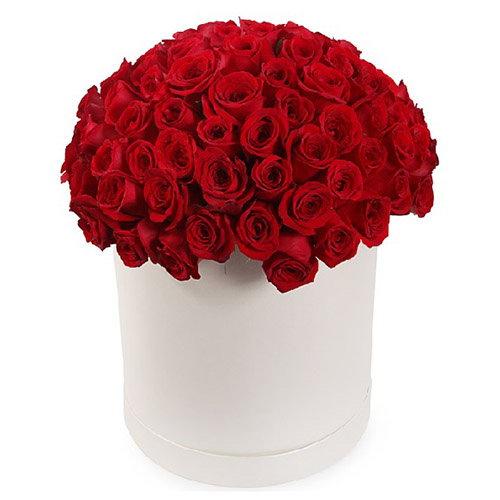 Фото товара 101 троянда червона у капелюшній коробці