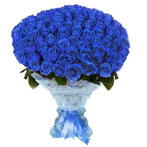 Фото товара 101 синя троянда (фарбована)