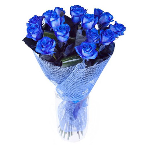 Фото товара 17 блакитних троянд (фарбованих)