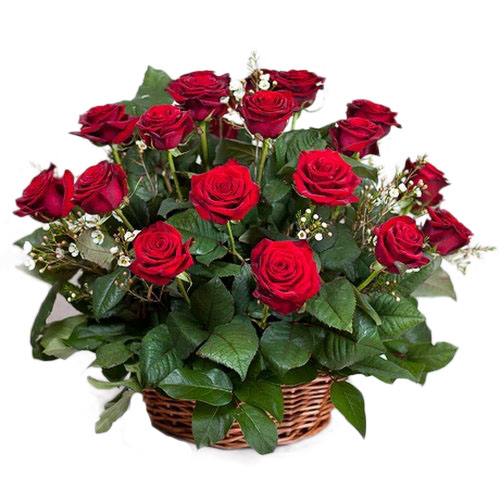 Фото товара 21 червона троянда в кошику