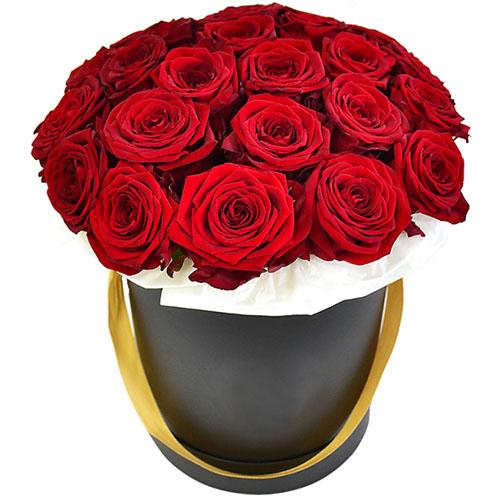 Фото товара 21 червона троянда в капелюшній коробці