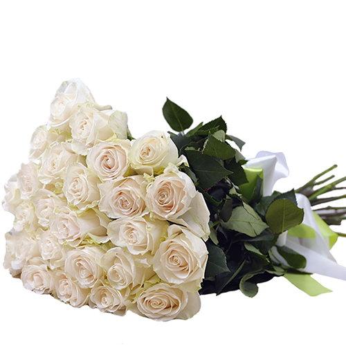 Фото товара 25 білих троянд