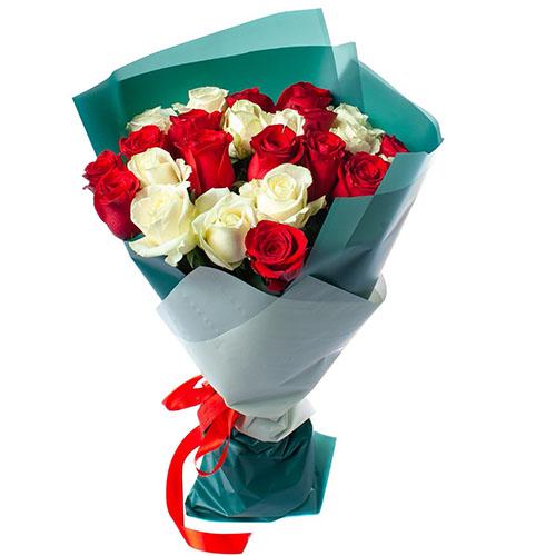 Фото товара 25 троянд червоних і білих