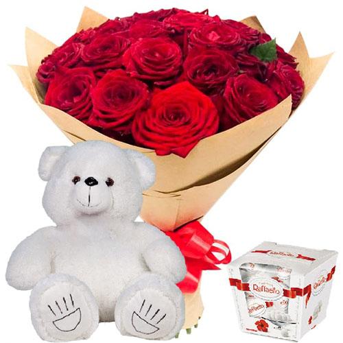 "Фото товара 25 троянд, ""Raffaello"" та ведмедик"