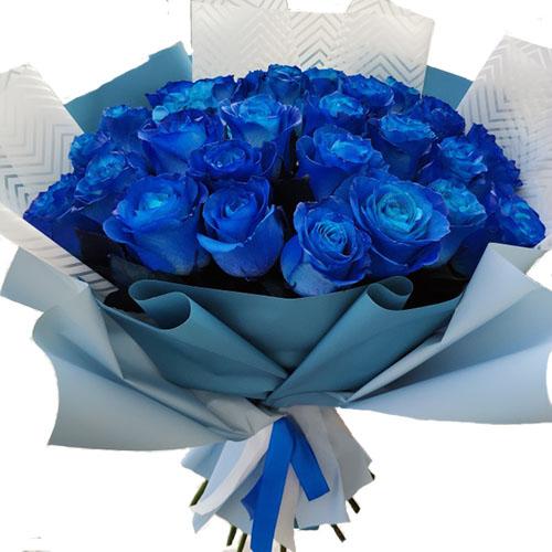 Фото товара 33 сині троянди (фарбовані)