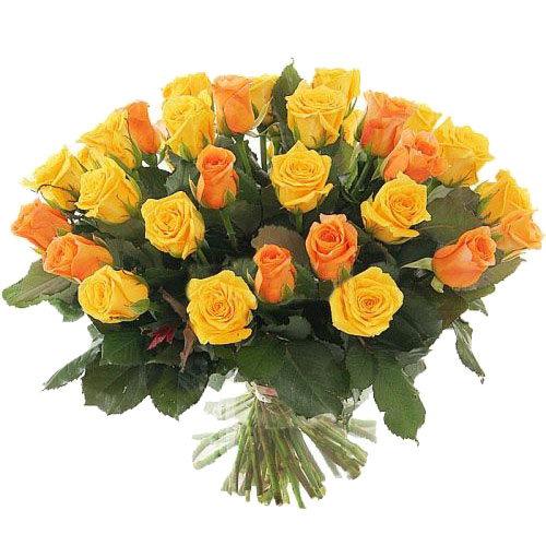 Фото товара 51 жовта і персикова троянда