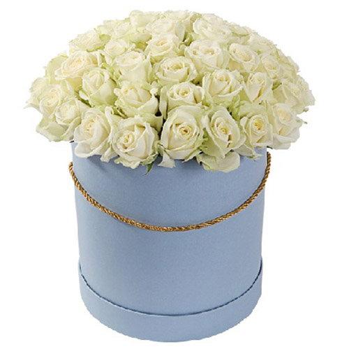 Фото товара 51 троянда біла в капелюшній коробці