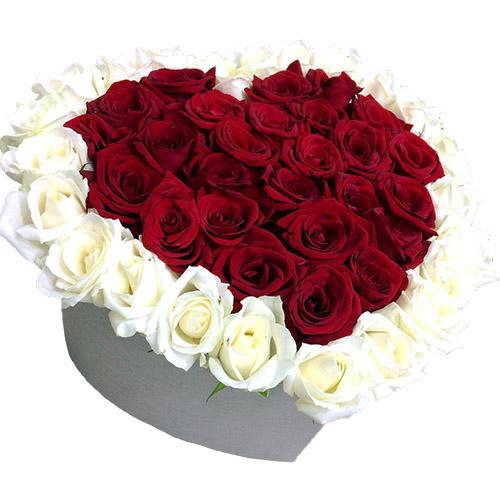Фото товара 51 троянда серце у спеціальній коробці