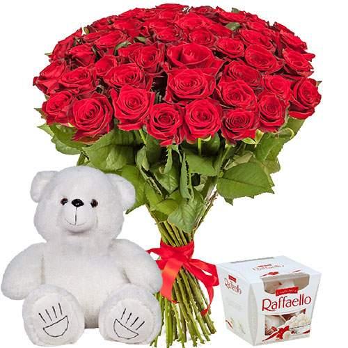 """Фото товара 51 троянда, ведмедик і """"Raffaello"""""""