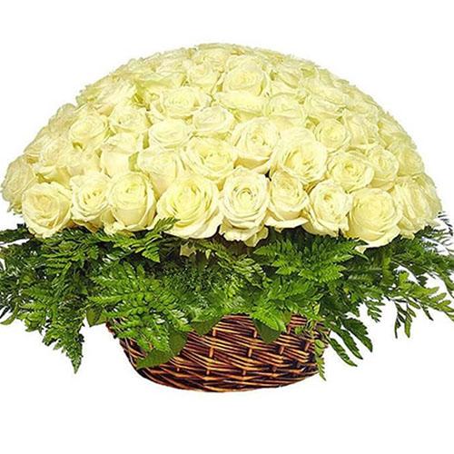 Фото товара Кошик 101 біла троянда
