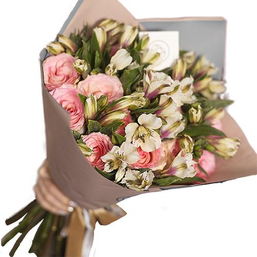 Фото товара Мікс рожевої троянди та альстромерії