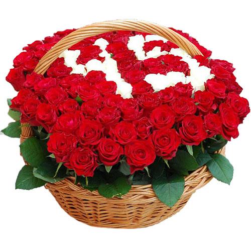 Фото товара 101 троянда з числами в кошику