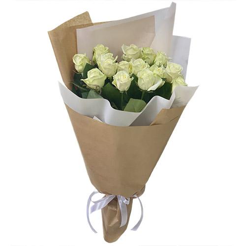 Фото товара 15 білих троянд