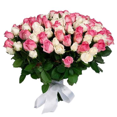 Фото товара 101 біла та рожева троянда