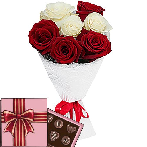 Фото товара 7 троянд мікс і цукерки