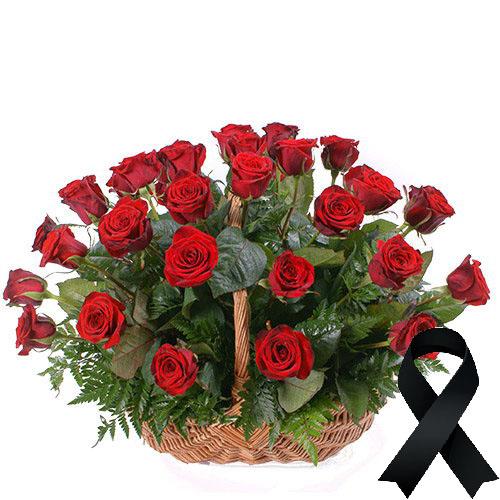 Фото товара 36 червоних троянд у кошику