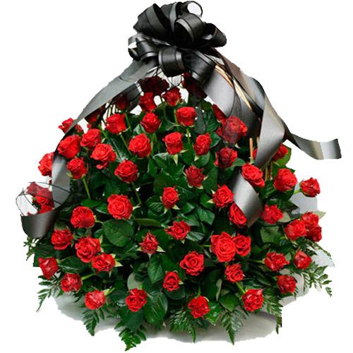 """Фото товара 100 багряних троянд """"Полум'я"""" в кошику"""