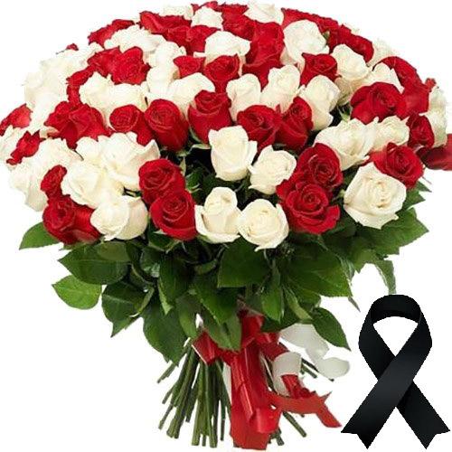 Фото товара 100 червоно-білих троянд