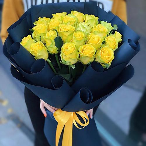 Фото товара Траурний букет жовтих троянд