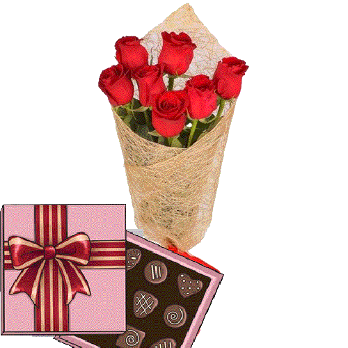 Фото товара 7 червоних троянд і цукерки